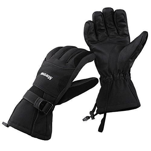 DAS Leben Skihandschuhe Radfahren Motorrad Handschuhe Winter wasserdicht für Damen und Herren (schwarz (Herren))