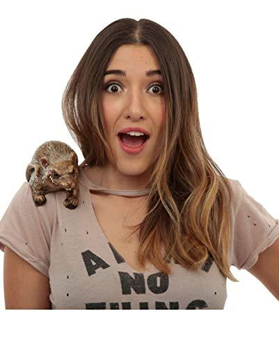 Kostüm Einfache Buddy - Horror-Shop Braune Ratte Buddy zum Anklipsen auf der Schulter