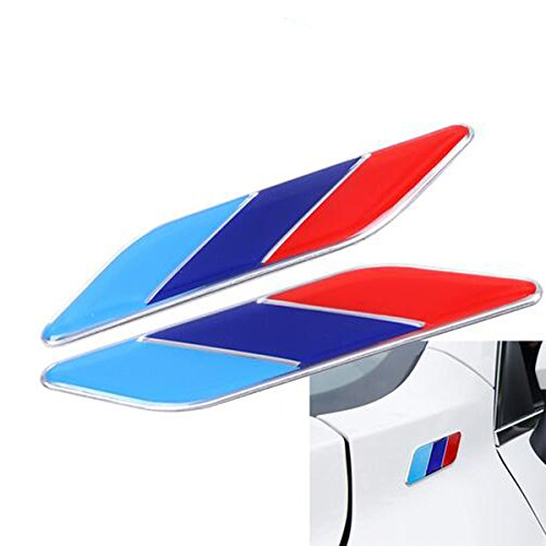 Dsycar 2 Unids/Pair 3D Metal Tricolor Insignia Emblema