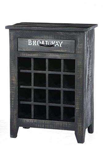 Sit Möbel Bronx 4237-11, Weinregal mit Schublade, 16 Ablagefächer für Weine, Mangoholz, schwarz lackiert, Wordprints, 58 x 35 x 80 cm (Schublade Wein)