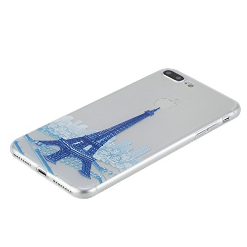Feeltech iPhone 7 Plus 5.5 Custodia,Flessibile Ultra sottile Gel Soft TPU Silicone Case di Gomma Con il Motivo Divertente di Disegno Sveglio Shock-Assorbire Antigraffio Cover Protettiva Pelle Chiara  Torre Blu