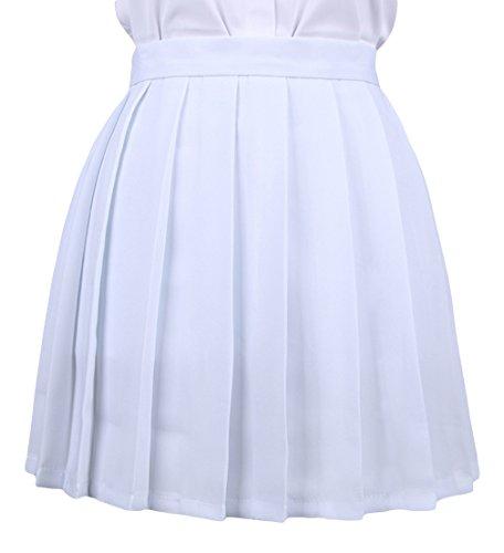 La vogue Mädchen Damen A-Linie Schule Uniform Rock Minirock Weiß Maße1(S)