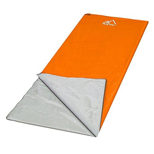 Terra Hiker Schlafsack, Leicht Outdoor Deckenschlafsack, 3-Jahreszeiten Schlafsäcke, Ideal für Camping, Trekkingtouren (Orange)