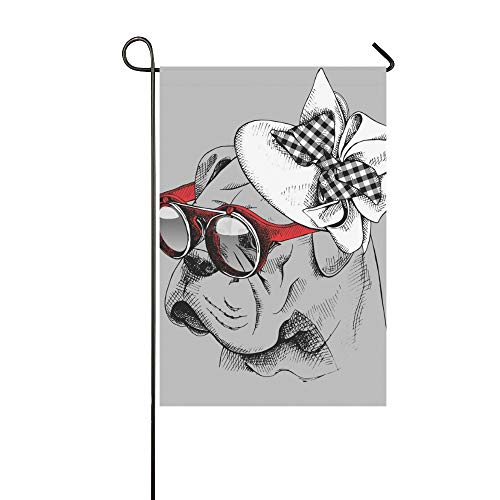 JOCHUAN Wohnkultur Bulldogge Porträt Elegante Frauen Hut Sonnenbrille Garten Flaghouse Yard Flaggarden Yard Decorationsseasonal Willkommen Outdoor Flagge 12X18 Zoll
