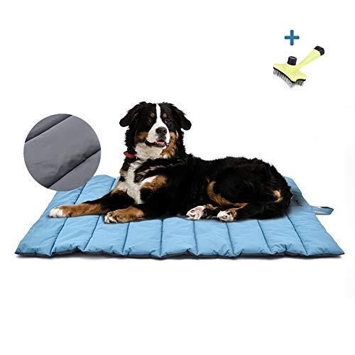 XIAPIA wasserdichte Hundematte für Outdoor mit Seilspielzeug, Waschbares Hundebett, Antistatik, Hygienisch, Faltbar, Große Reisedecke für Haustier 110 x 68 cm (Blau/Grau)