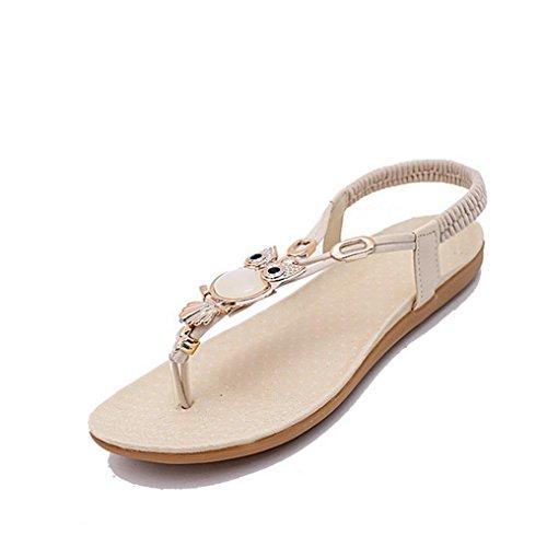 DM&Y 2017 cantieri di moda Estate clip di perline sandali punta scarpe basse scarpe casual strass beige