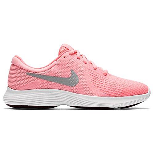 Nike revolution 4 (gs), scarpe da trail running donna, rosa (arctic punch/metallic silver 600), 36.5 eu
