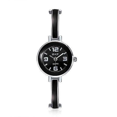 YAZILIND bijoux classique bracelet en alliage de quartz-montre pour femmes filles (noir)