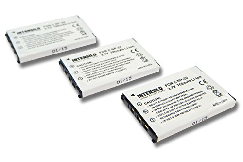 INTENSILO 3X Li-Ion Akku 700mAh (3.7V) für Kamera Camcorder Video Casio Exilim EX-Z60, EX-Z65, EX-Z70, EX-Z75, EX-Z77, EX-Z770, Ex-Z8 Wie NP-20.