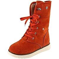 Botas, Manadlian Botas de mujer Zapatos Confort Pisos Lace Up Calzado de punta redonda (EU:38, Naranja)