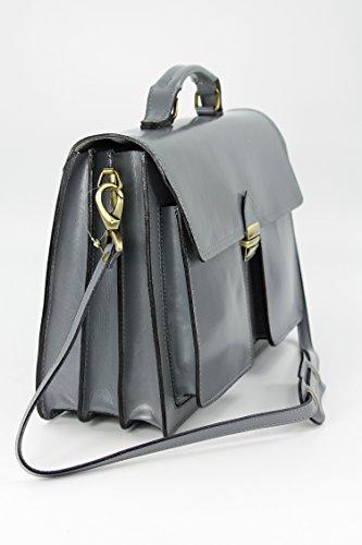 "BELLI® ""Design Bag B"" ital. Leder Businesstasche Aktentasche Lehrertasche unisex - Farbauswahl - 40x30x14 cm (B x H x T) Hellgrau"