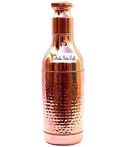Prisha Indien Craft 1000ml/33oz reines Kupfer dickem auslaufsicher Wein Flasche Form Neues Design reines Kupfer Wasser Flasche-Sport Wasser Flaschen mit Flasche Reinigungsbürste - 33oz-wasser-flasche