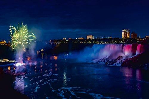 Artland Qualitätsbilder I Wandtattoo Wandsticker Wandaufkleber 60 x 40 cm Landschaften Amerika Kanada Foto Blau C8PD NIAGARAFÄLLE Idylle in der Nacht