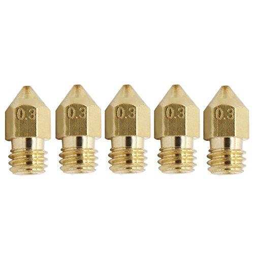 Anycubic Ugello 0.2mm 0.3mm 0,4mm 0.5mm per MK8 Estrusore Sestina di Stampa Compatibile con 1,75 Millimetri Filament Confezione da 5 Pezzi (0,3mm Ugello per 1,75 mm Filament)