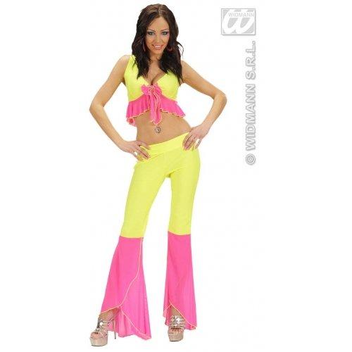 WIDMANN Samba Top & Pants Neon Gelb & Pink Kostüm Medium für 70er Jahre Abba