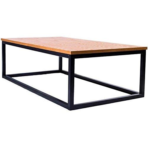 LEON Table basse style industriel en métal époxy noir + plateau placage bois chene massif verni - L 110 x l 60 cm