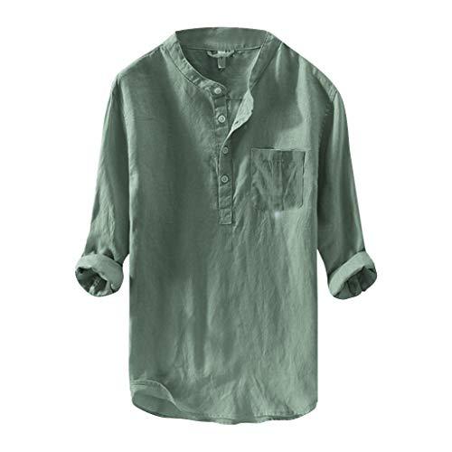 BHYDRY Herren Mode aus Reiner Baumwolle und Hanf Langarm Top Casual Bluse Top(Large,Grün) -