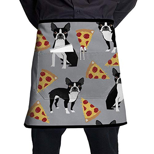 MSGDF Grey Boston Terrier Dog Pizza Waitress Apron - Durable Polyester Waist Bib Apron with Pockets Long Ties Extra Coverage Commercial Grade Server Aprons Comfortable Half Apron Boston Server