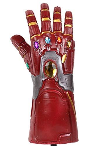 qingning Thanos Infinity Gloves Handschuhe Cosplay Endgame Halloween Kostüme (One Size, A-Endgame Handschuhe-Rot)