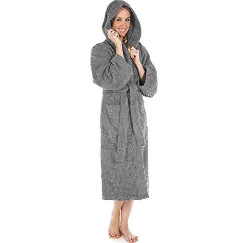 Bademantel für Damen & Herren | alle Größen und viele Farben | 100% Baumwolle Uniwalk-Frottee mit Kapuze | CelinaTex Montana 0001230 | Größe M dunkel grau