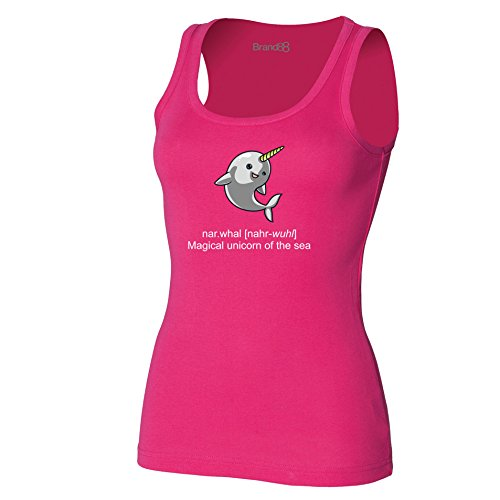 Brand88 - Narwhal Damen T-Shirt Ohne Arm Fuchsia