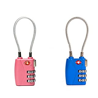 JYHY® TSA Approved 3-Digit Combination Locks - Heavy Duty &High Secure Resettable Padlocks - for Luggage Suitcases Travel Bags and Gym Lockers,2-Pack (Blue&Pink)