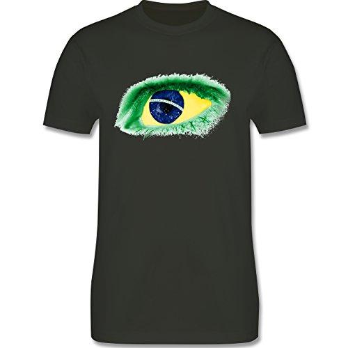 Länder - Auge Bodypaint Brasilien - Herren Premium T-Shirt Army Grün