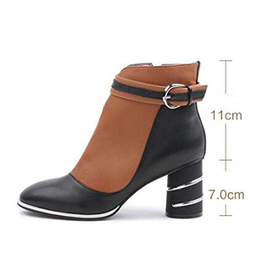 Dans Martin bottes avec des bottes épaisses avec des bottes à boucles chaussures chaudes, jaune 37