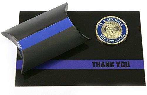 DÜNN Blau Line Police Officer Unterstützung Geschenk-Set St. Michael Challenge Coin & THANK YOU Karte