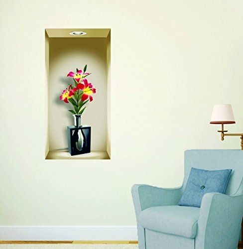 Wall sticker 3D Flower Pot ( PVC Vinyl Multicolor Sticker Size 92X48 )CM