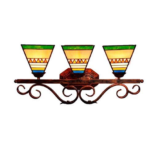 6 Vanity Bar Licht (Yjmgrowing Tiffany-Art-Schlafzimmer-Spiegel-Front-Eitelkeits-Licht 3-Kopf-Glasmalerei Korridor Wandleuchte für Esszimmer Bar Gang Wandleuchte mit 6 Zoll Lampenschirm, E27 * 3)