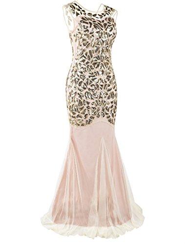 Kayamiya Damen Gatsby Kleid 1920er Perlen Pailletten Maxi Lange Charleston Meerjungfrau Abendkleid 32-34 Gold Beige - 2