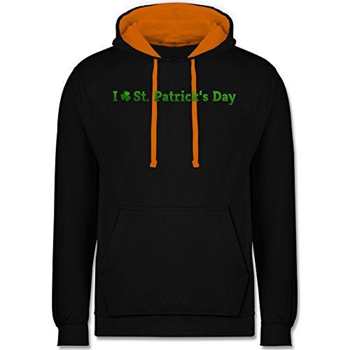 Festival - I love St. Patrick's Day - Kontrast Hoodie Schwarz/Orange