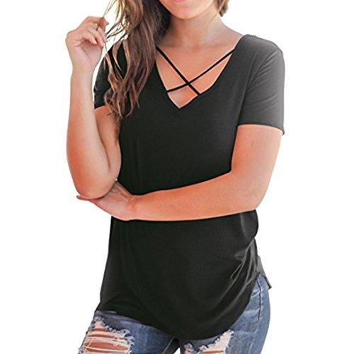 FNKDOR Summer Fashion Women's Casual Bare Shoulder Short Sleeve O-Neck T-Shirt Cold Shoulder Loose Tops Blouse