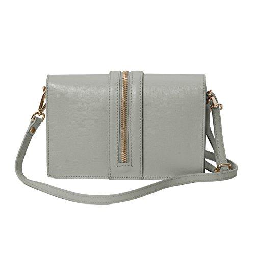 Pochette da giorno , Minibag ( 24 / 15 / 5 cm ) in pelle Mod. 2046 by fashion-formel Grigio