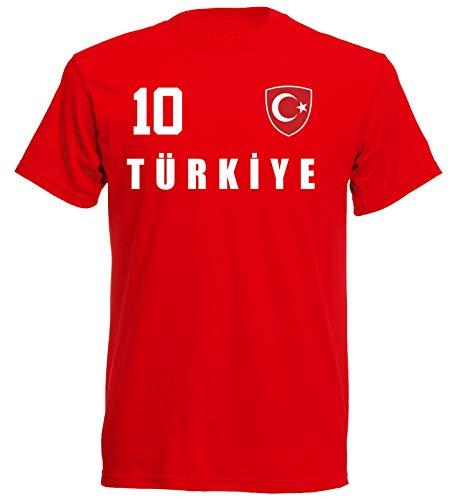 Türkei WM 2018 T-Shirt Trikot Look - rot ALL-10 - S M L XL XXL (L)