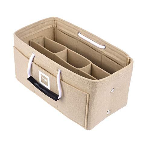 FFITIN Taschenorganizer Filz - Handtaschenorganizer mit Tragegriffen | Bag in Bag | XL Handtaschenordner (Maldives Sand Beige, L - Large (28 x 15 x 15 cm))