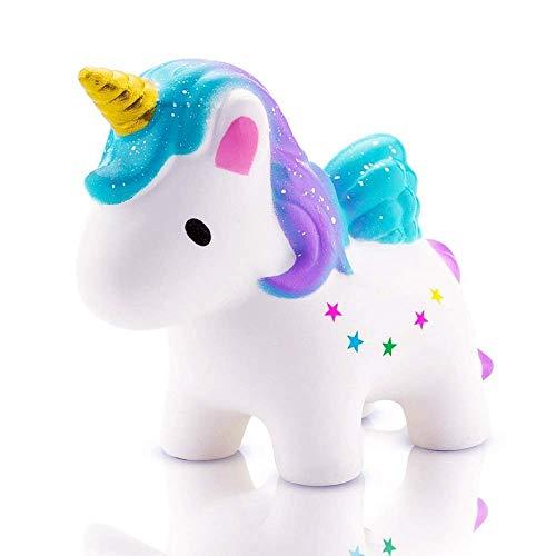 Etitular Squishy Unicornio,Squishys Kawaii Slow Rising para Niños Y Adultos Squishys Kawaii Juguetes Antiestres No Tóxico Squeeze Toy Antiestres Squishy (Squishy Unicornio)