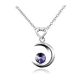 """AmberMa""""Moon Touch"""" Crescent Moon Pendant Necklace Sterling Silver Purple Cubic Zirconia Fashion for Women Girls"""