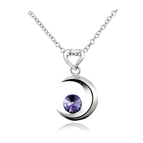 "- 4105nxMuJCL - AmberMa ""Moon Touch"" Crescent Moon Pendant Necklace Sterling Silver Purple Cubic Zirconia Fashion for Women Girls"