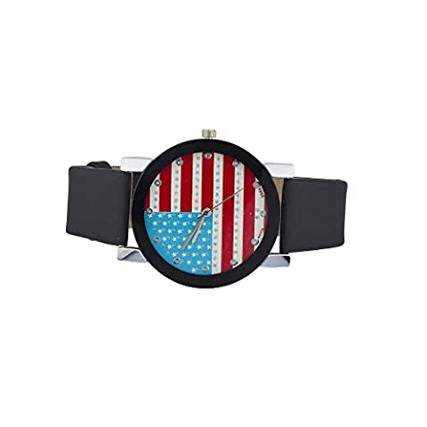 Lux Accessories Americana American Flag July 4th Independence Day Black Watch