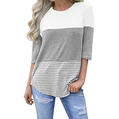 MRULIC Frauen Kurzarm Dreifach Farbe Block Streifen T-Shirt Casual Bluse Damen Shirt Weisse Bluse (EU-38/CN-M, Y-Weiß)