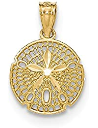 14ct Yellow Gold Polished Filagree Sanddollar Pendant