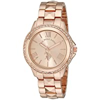 U.S. Polo Assn. Women's Quartz Watch, Analog Display and Gold Plated Strap USC40078