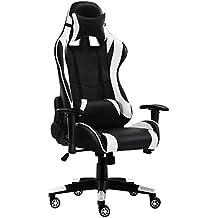 JL comfurni juegos silla Chesterfield ergonómico giratorio silla de oficina respaldo alto Heavy Duty Home Sillón reclinable y deporte de carreras de silla de piel sintética silla de oficina mesa para ordenador