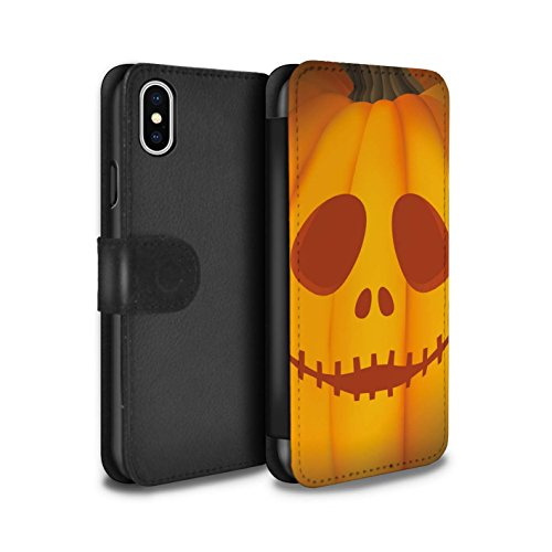 Stuff4 Coque/Etui/Housse Cuir PU Case/Cover pour Apple iPhone X/10 / Mal Design / Citrouille Halloween Collection Fantôme