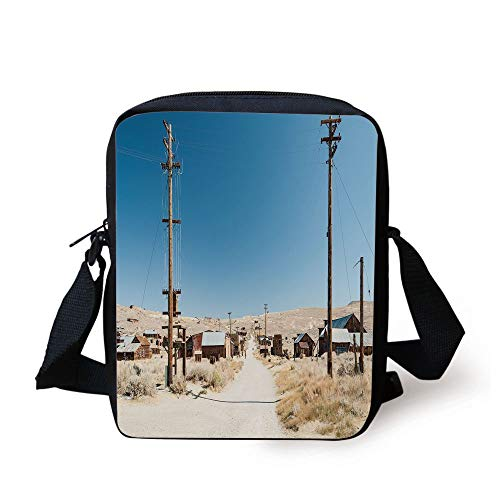 Western,Bodie State Historic Park Ghost Town in California United States Arid Country Decorative,Light Blue Beige Print Kids Crossbody Messenger Bag Purse (Ghosts Of California)