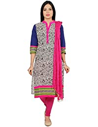 Rama Suit Set Of MultiColour Printed Kurta With 4 Button On Placket 3/4 Sleeve Kurta With Pink Legging & Dupatta