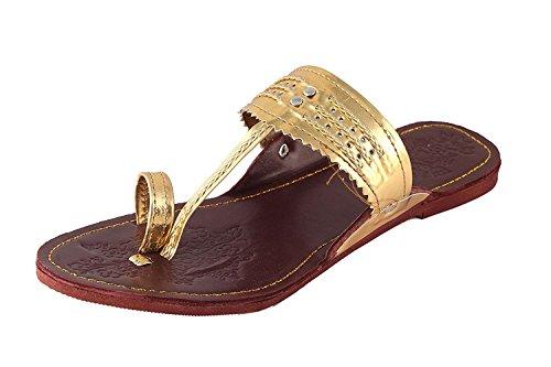 Tamanna Men's Gold Kolhapuri Chappal-5  available at amazon for Rs.270