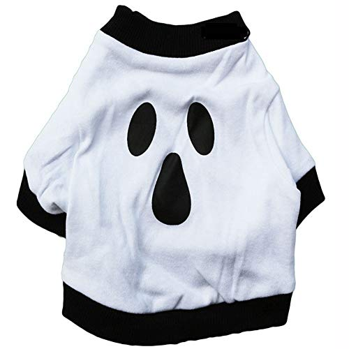 Smniao Hundekleidung für Kleine Hunde Chihuahua Geist Muster Shirts Halloween Warm Sweatshirt Haustier Katze Kostüm Hundepullover (L, Weiß) (Geist Halloween Katze Kostüm)